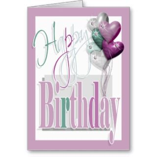 Happy birthday fun diamond balloons pink Greeting Card