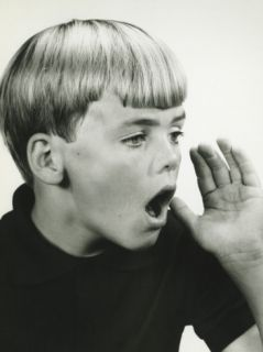 Boy (10 11) Calling Out in Studio, Close Up, Portrait Photographic Print by George Marks