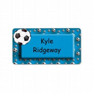 Blue Soccer Ball   Boys school name label