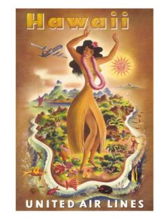 Hawaii, United Air Lines, Hula Dancer Giclee Print