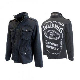 JACK DANIELS Winterjacke Jacke gefüttert Schwarz mit Logo M L XL XXL