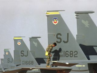 Saudi Arabia Army U.S F 15 Jet Fighters Kuwait Crisis Photographic Print by Bob Daugherty
