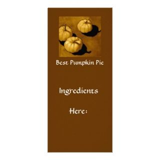 PUMPKIN PIE RECIPE CARD ART CUSTOMIZED RACK CARD