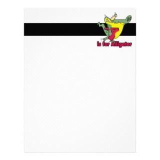 is for Alligator silly gator letter cartoon Customized Letterhead