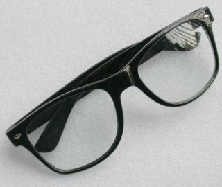 RETRO BLACK Fashion STYLE GEEK NERD CLEAR LENS GLASSES