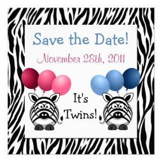 Zebra Fraternal Twins Baby Shower Save the Date Invite