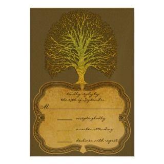 Gold Green Swirly Tree Wedding Invitation