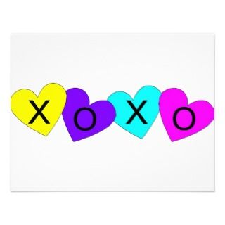 XOXO Valentine Kisses & Hugs Custom Invitations