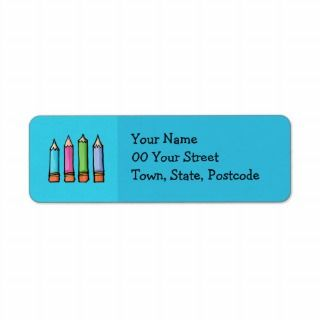 Colored Pencils blue Return Address Label by floatinglemons
