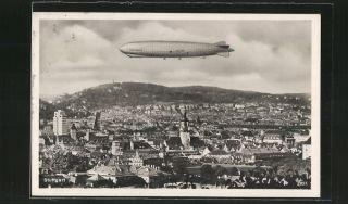Stuttgart, Luftschiff Graf Zeppelin ALZ 127 über dem Ort 1929