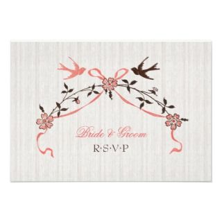 Vintage Cherry Blossom Swallows Wedding invitation