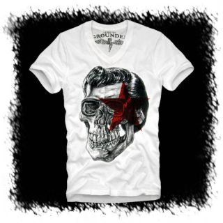 E1SYNDICATE V NECK T SHIRT ELVIS SKULL (M) KING ROCKABILLY PUNK ROCK