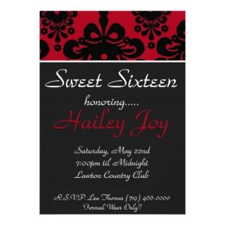 Sweet Sixteen, honoring.., HPersonalized Invite