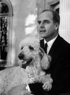Gov. Gaylord Nelson Holding His Pet Poodle Premium Photographic Print by Robert W. Kelley