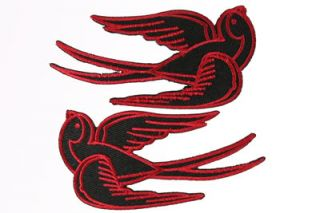 AUFNÄHER PAAR SCHWALBEN PATCH SWALLOW ROCKABILLY BADGE Tattoo Flash