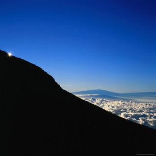 Rim of Haleakala Crater with Mauna Loa and Mauna Kea Behind, Haleakala National Park, Hawaii Photographic Print by Wes Walker
