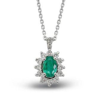 Diamant Brillant Smaragd Gold Anhaenger 585 Smaragdanhaenger inkl