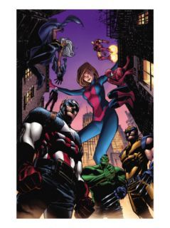 Marvel Adventures Avengers #28 Cover Captain America, Giant Girl, Spider Man and Wolverine Prints by Leonard Kirk