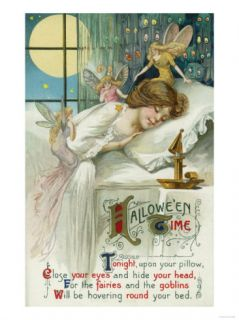 Halloween Time Fairies Around Sleeping Woman Scene Prints