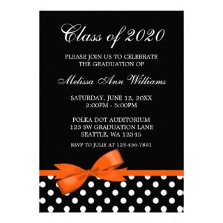 Orange Bow Polka Dots Graduation Announcement