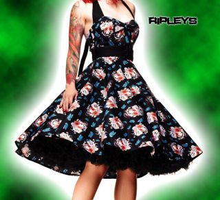 HELL BUNNY Floral 50s DRESS Blue Rockabilly GEISHA XXL 16/18