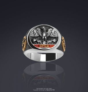 IMPERIAL ROMAN EAGLE SPQR SILBER RING 24K GOLD PLATED   RÖMISCHER