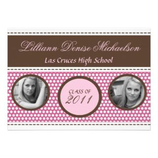 5x7 Brown Pink Polka Dot Photo Senior Announcement