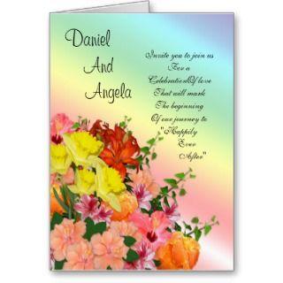 Spring flowers Wedding invitation on rainbow color Card