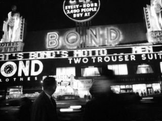 Bright Neon Lights of Bonds Clothing Store Premium Photographic Print by Lisa Larsen