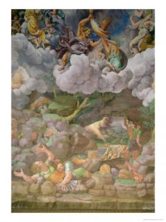 Olympus and Zeus Destroying the Rebellious Giants, Walls of the Sala Dei Giganti, 1530 32 Giclee Print by Giulio Romano