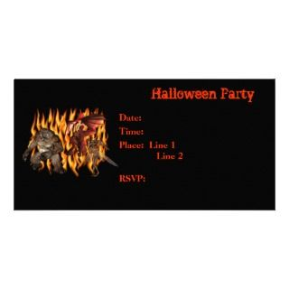 Halloween Party Invitation Monsters Flames Card Photo Cards