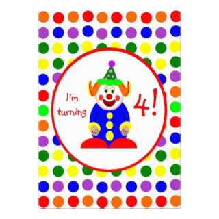 Polka Dots Clown Birthday Party Invitations
