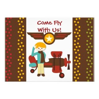 Customized Blond Boy Pilot Birthday Invitations
