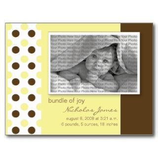 Baby Birth Announcement Yellow Polka Dots Post Cards