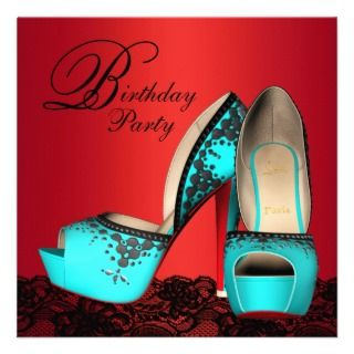 High Heel Shoes Red Teal Blue Birthday Party Announcement