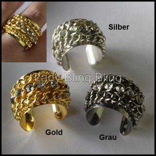 Ring Fingerring Kettchen Strass 3 Farben Silber Gold Grau verstellbar