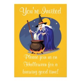 party invitation features a witching brewing up some fun in her