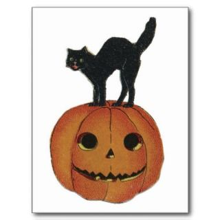 Old Fashioned Halloween Jack O Lantern & Black Cat Postcards