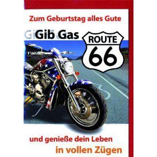 Karte Geburtstag Motiv Route 66 Motorrad, 5 Stück