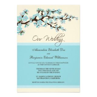 Cherry Blossom Wedding Invitation (blue)