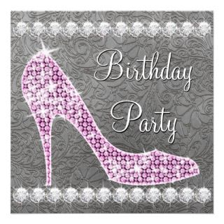 high heel shoes birthday party invitations this beautiful pink high