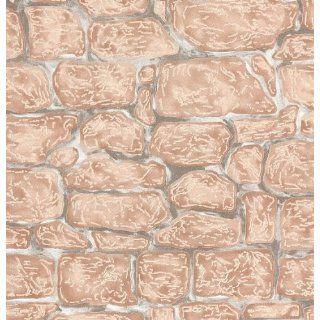 Strukturtapete Mauer, Naturstein, Fugen weiß/grau, Steine mit braun
