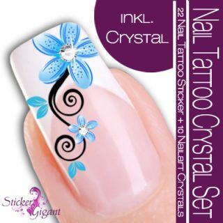 NEU Nail Art Tattoo Sticker Crystal SET türkis