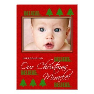 Christmas Baby Birth Announcement Photo Card