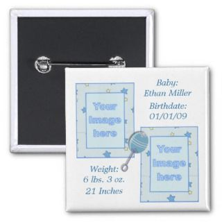 Baby Boy Birth Announcement Button