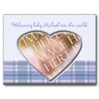 Newborn Baby Boy Announcement Tempate Postcards