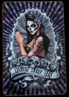 Pray BLECHSCHILD la Muerta Tattoo Mexican Kult Skull