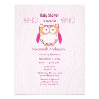 Baby Girl PINK Wood Grain Pattern Shower Announcements