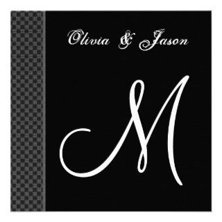 Black and White Monogram Wedding Invitation Checks