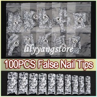 100pcs Black Flower Rattan Acrylic UV Gel French False Nail Art Tips